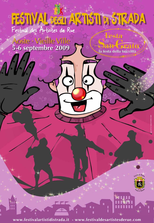 """5 e 6 settembre 2009: grande coinvolgimento e festa per """"La Veillà des Artistes"""" del sabato sera che prevede spettacoli unici di grandi suggestione e col fuoco."""