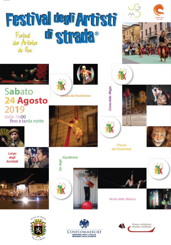 """24 agosto 2019: il Festival prosegue con il grande supporto dell'Ascom-Confcommercio a cui si aggiunge la """"serata rossonera"""" che porta in una giornata oltre 20mila presenze nel cuore di Aosta."""